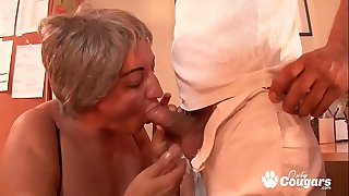 Horny Granny Lets A Young..