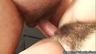 Her hairy old pussy is toyed..