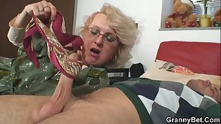 Shaved pussy grandma pleases..
