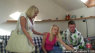 Blonde old granny swallows..