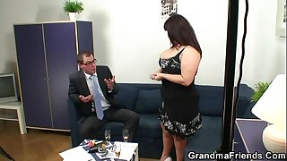 Huge titted granny swallows..