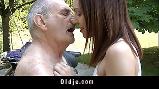 Horny teeny rides a 70 years..