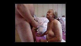 Very old grandma having fun...