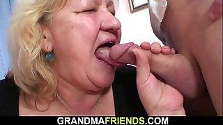 Busty fat grandma swallows..