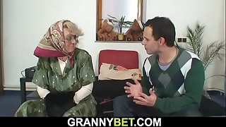 Lonely old grandma sucks and..