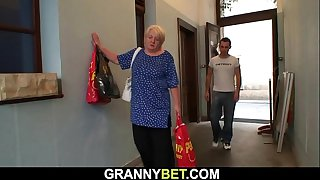 Busty 70 years old blonde..