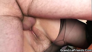 Grandma shallows two cocks..
