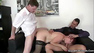 Office mature woman enjoys..