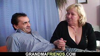 Busty blonde old grandma..