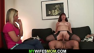 Wife watches her old mom..