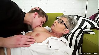 Lusty grandma vs young big..