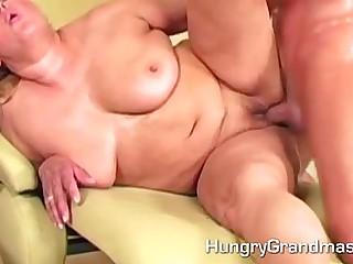 Granny got a load of hot sperm