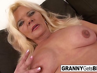 Granny with fake tits gets..