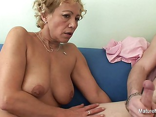 Blonde granny gets cum on..