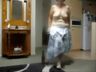 Horny amateur granny playing..