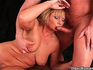 Squirting granny sprays her..