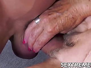 Horny granny deepthroats big..