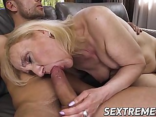 Naughty granny pounded by y...