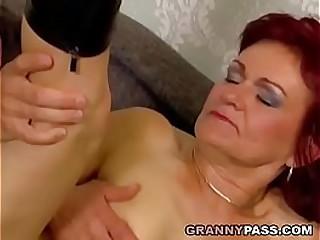 Redhead Granny Takes Anal..