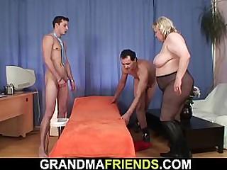 Old granny swallows 2 dicks