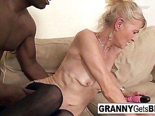Hot granny gets filled with..
