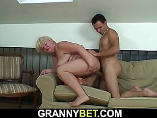 Busty granny please him with..