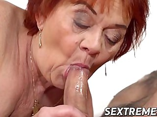Granny seduced and railed by..