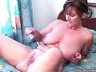 Granny Joy fucks her pussy..