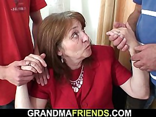 Two guys fucking old granny..