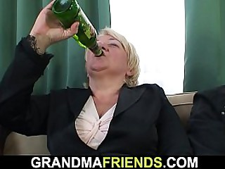 Busty blonde granny gets..