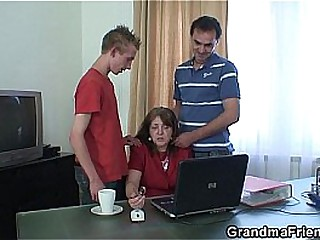 Threesome office fucking..