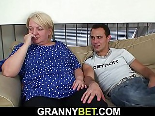 He pick ups old blonde granny