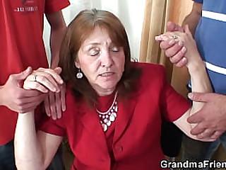 Big tits granny in stockings..