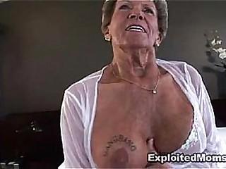 Old Granny takes a big black..