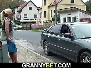 Blonde granny gets..