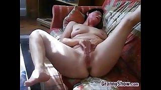 Horny Granny Rubs Her Clit..
